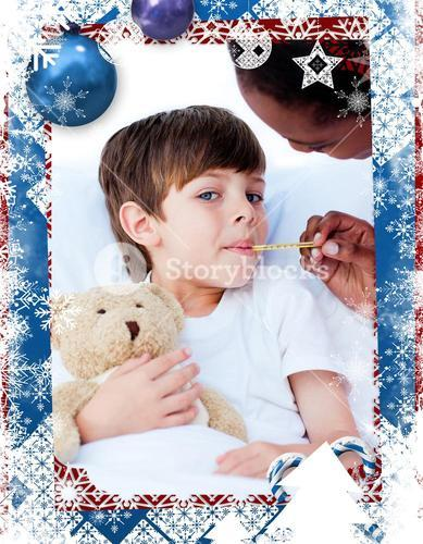 Composite image of serious nurse taking childs temperature