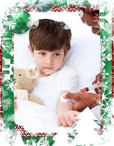 Composite image of sick little boy receiving an injection