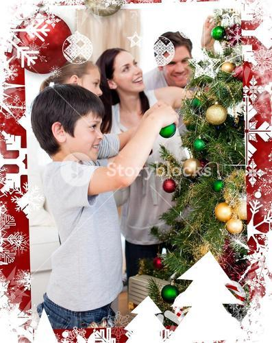 Composite image of happy family decorating a christmas tree with boubles