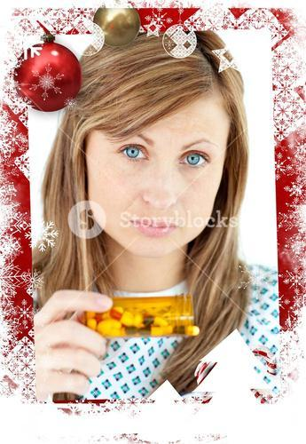 Composite image of diseased woman taking pills