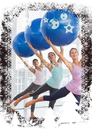 Composite image of fitness class doing pilates exercise with fitness balls
