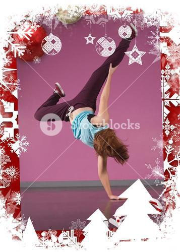 Pretty break dancer doing handstand with one hand