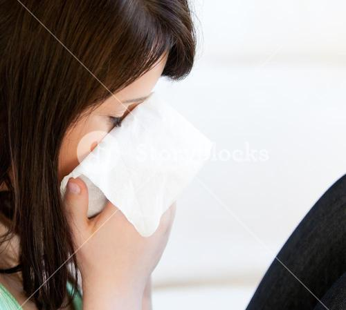 Diseased female teenager with tissues