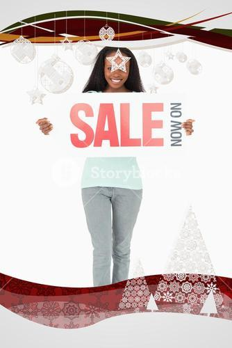 Composite image of woman with ad on white background