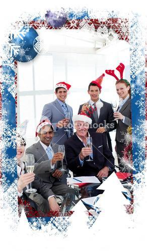 Composite image of business people with novelty christmas hat toasting at a party