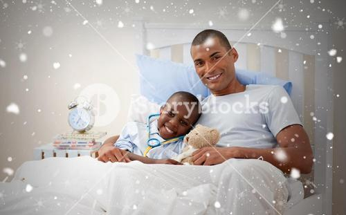Composite image of father with his sick child
