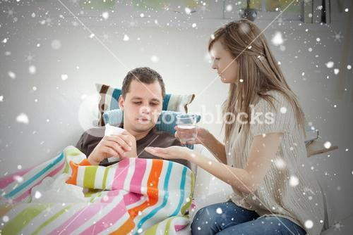 Composite image of positive woman taking care of her husband