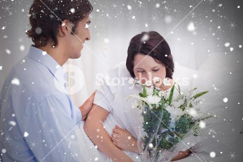 Composite image of man brought flowers to his girlfriend in the hospital
