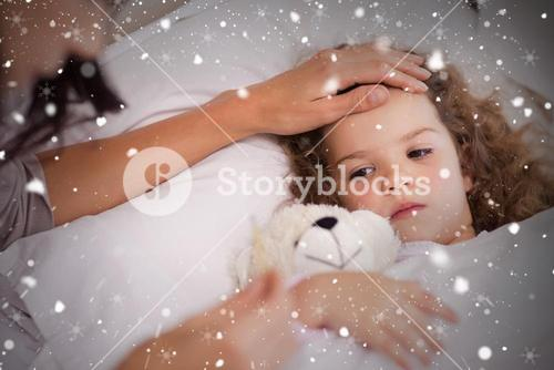 Composite image of mother taking care of her ill daughter