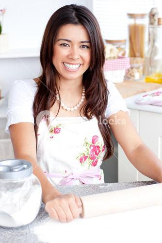 Bright woman baking in the kitchen