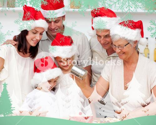 Composite image of happy family baking christmas cakes