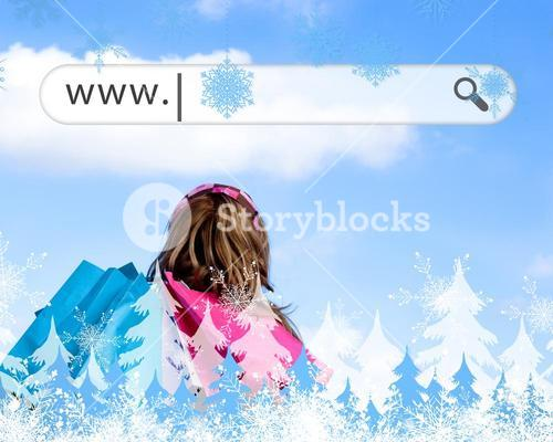 Girl holding shopping bags with address bar above