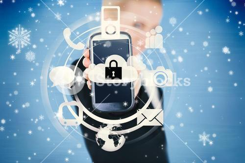 Businesswoman holding up locked smart phone