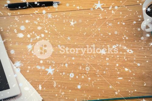 Composite image of snow and stars