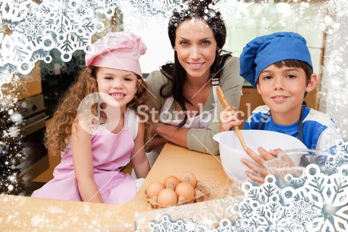 Composite image of mother and her children preparing cookies