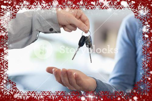 Composite image of man giving keys to someone