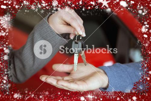 Composite image of person handing keys to someone else