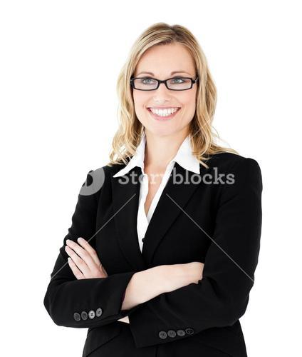Selfassured businesswoman with folded arms