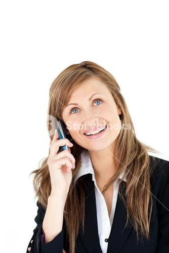 Cheerful blond businesswoman talking on phone