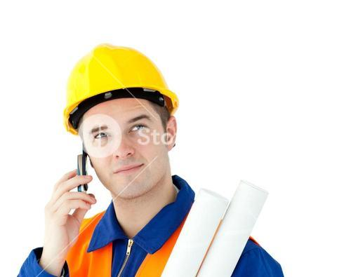 Ambitious worker talking on phone holding plan
