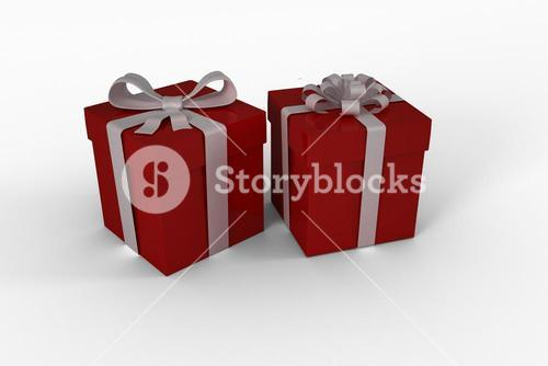 Red gifts with white bow