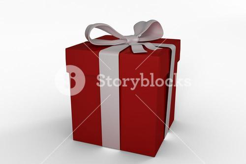 Red gift with white bow