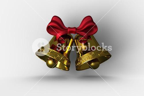 Golden bells with red ribbon