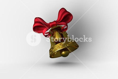 Golden bell with red ribbon