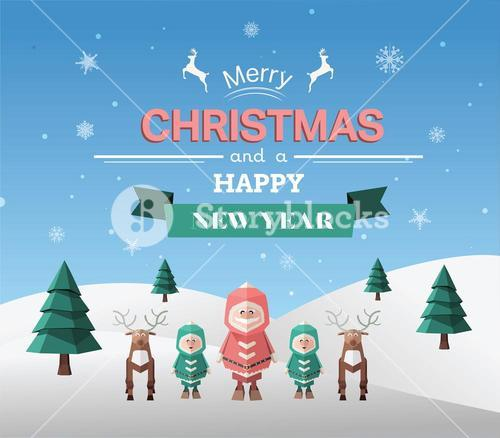 Merry christmas vector with greeting