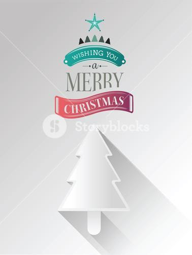 Christmas tree vector with greeting