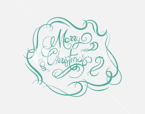 Merry christmas message vector in cursive green
