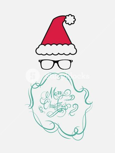 Merry christmas message vector in cursive green with santa hat