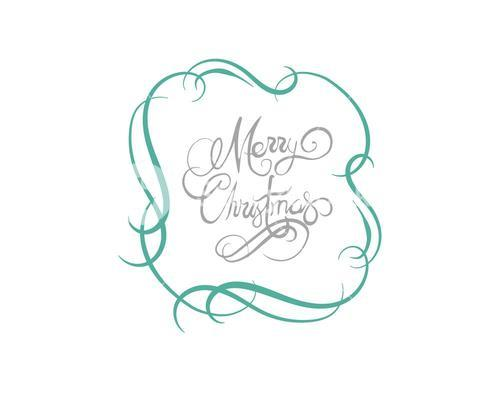 Merry christmas message vector in cursive green and grey