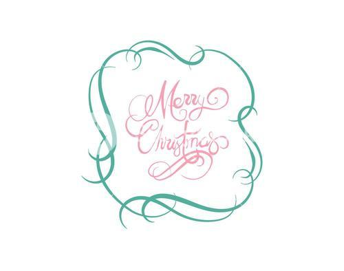 Merry christmas message vector in cursive green and pink