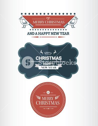 Stylish merry christmas message banners vector