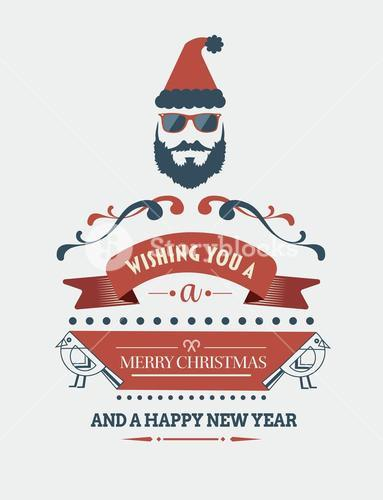 Stylish merry christmas message banner with illustrations