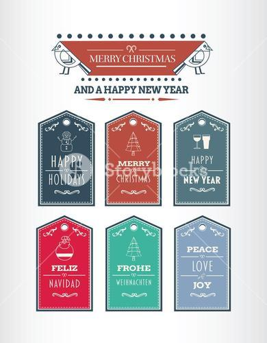Stylish merry christmas message tags vector