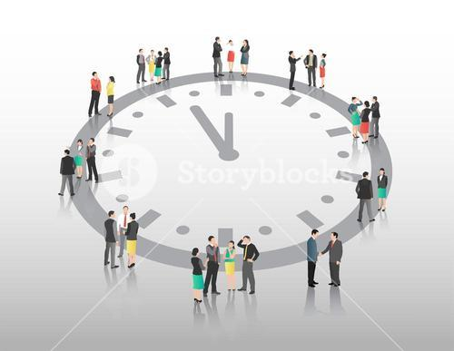 Business people vector with clock