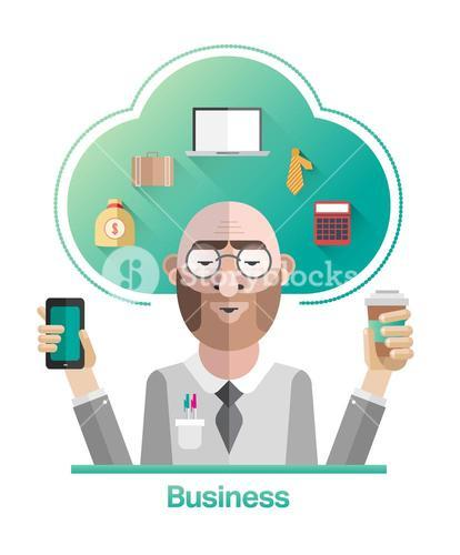Businessman vector with cloud and text