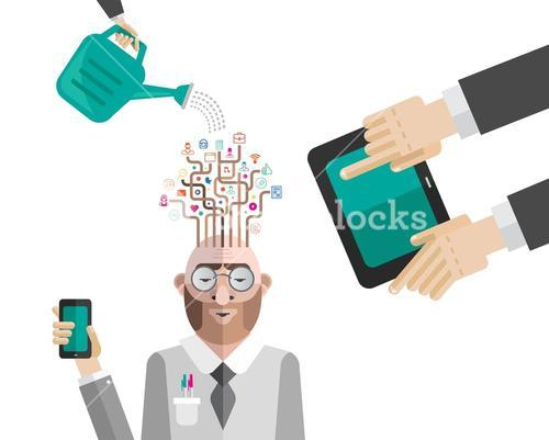 Nurturing business mans ideas vector