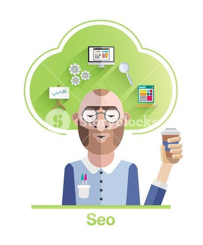 Seo vector with cloud and icons