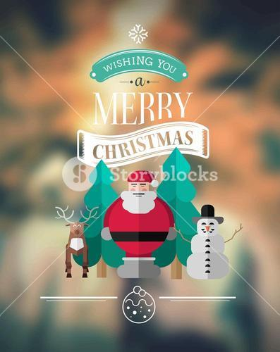 Merry christmas message vector with cute illustrations