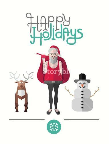 Happy holidays message vector with hipster illustrations