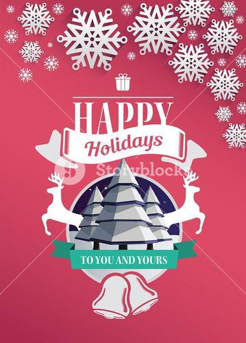 Happy holidays message vector with cute illustrations