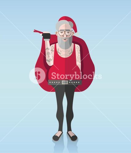 Hipster santa vector with tattoos