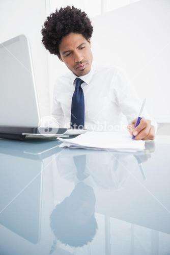 Concentrated businessman writing notes