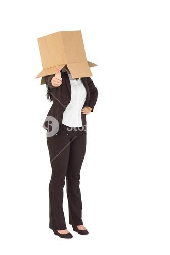 Businesswoman showing thumbs up with box over head