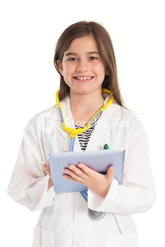 Little girl pretending to be a doctor