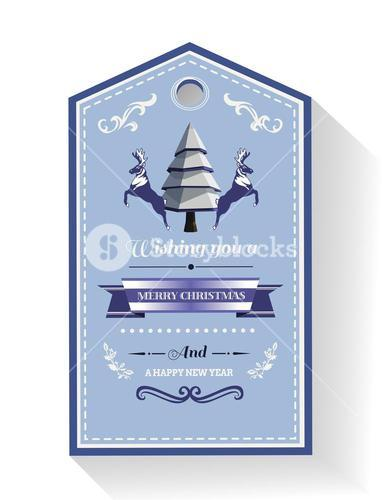 Christmas greeting tag with illustrations
