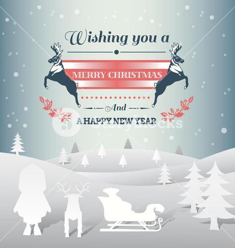 Christmas vector with message and characters